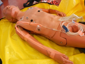 "The manikin with ""veins"" taped along the arms. It allows for actual IV starts and fluid administration. Everything is collected into the empty 1L NS bag."