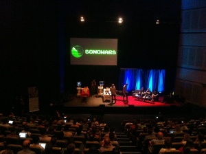 A view from the back of the auditorium as the audience was introduced to Sonowars for the first time!
