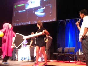 Our team teaching the skill of transvaginal ultrasound on stage. A challenging topic.