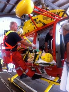 Stretcher winch simulation in action.