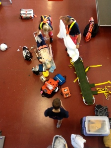 A birds eye view of our team preparing our patient for a  stretcher winch