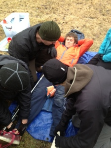 Splinting of fractured femur with ski pole