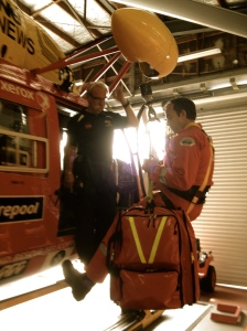ARHT paramedic Rob Gemmell winches with one of the packs