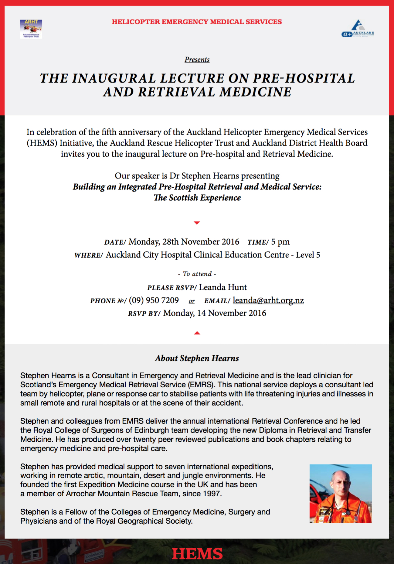 Invitation The Inaugural Lecture On Pre Hospital And Retrieval